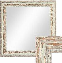 Wand-Spiegel 36x36 cm im Holzrahmen Weiss Shabby-Chic Vintage Quadratisch / Spiegelfläche 30x30 cm