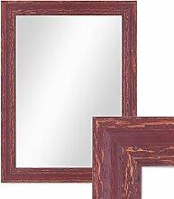 Wand-Spiegel 36x46 cm im Holzrahmen Rot-Braun Shabby-Chic Vintage / Spiegelfläche 30x40 cm