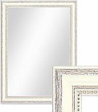 Wand-Spiegel 36x46 cm im Massivholz-Rahmen Landhaus-Stil Shabby-Chic Weiss / Spiegelfläche 30x40 cm