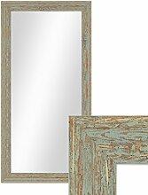 Wand-Spiegel 36x66 cm im Holzrahmen Grau-Grün Shabby-Chic Vintage / Spiegelfläche 30x60 cm