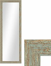 Wand-Spiegel 36x96 cm im Holzrahmen Grau-Grün Shabby-Chic Vintage / Spiegelfläche 30x90 cm