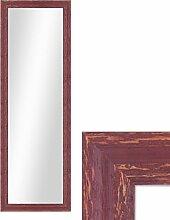 Wand-Spiegel 36x96 cm im Holzrahmen Rot-Braun Shabby-Chic Vintage / Spiegelfläche 30x90 cm