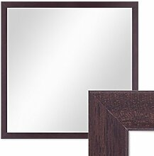 Wand-Spiegel 43x43 cm im Holzrahmen Nuss-Optik Dunkelbraun Modern Quadratisch / Spiegelfläche 40x40 cm