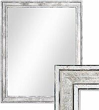 Wand-Spiegel 44,5x54,5 cm im Holzrahmen Pastell Vintage Look/Alt-Weiß Silber/Spiegelfläche 40x50 cm