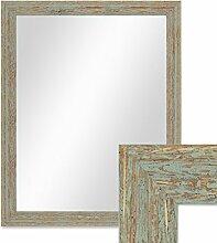 Wand-Spiegel 46x56 cm im Holzrahmen Grau-Grün Shabby-Chic Vintage / Spiegelfläche 40x50 cm
