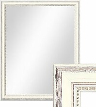 Wand-Spiegel 46x56 cm im Massivholz-Rahmen Landhaus-Stil Shabby-Chic Weiss / Spiegelfläche 40x50 cm