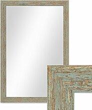 Wand-Spiegel 46x66 cm im Holzrahmen Grau-Grün Shabby-Chic Vintage / Spiegelfläche 40x60 cm