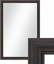 Wand-Spiegel 46x66 cm im Massivholz-Rahmen Landhaus-Stil Dunkelbraun / Spiegelfläche 40x60 cm