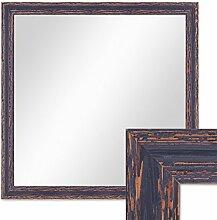 Wand-Spiegel 56x56 cm im Holzrahmen Dunkelbraun Shabby-Chic Vintage Quadratisch / Spiegelfläche 50x50 cm