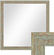 Wand-Spiegel 56x56 cm im Holzrahmen Grau-Grün Shabby-Chic Vintage Quadratisch / Spiegelfläche 50x50 cm