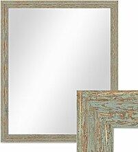 Wand-Spiegel 56x66 cm im Holzrahmen Grau-Grün Shabby-Chic Vintage / Spiegelfläche 50x60 cm