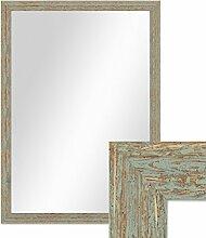 Wand-Spiegel 56x76 cm im Holzrahmen Grau-Grün Shabby-Chic Vintage / Spiegelfläche 50x70 cm