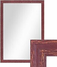 Wand-Spiegel 56x76 cm im Holzrahmen Rot-Braun Shabby-Chic Vintage / Spiegelfläche 50x70 cm