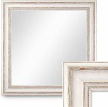Wand-Spiegel 60x60 cm im Massivholz-Rahmen Landhaus-Stil Weiss Quadratisch / Spiegelfläche 50x50 cm