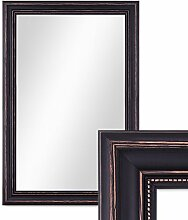Wand-Spiegel 60x70 cm im Massivholz-Rahmen Landhaus-Stil Dunkelbraun / Spiegelfläche 50x60 cm