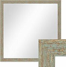 Wand-Spiegel 66x66 cm im Holzrahmen Grau-Grün Shabby-Chic Vintage Quadratisch / Spiegelfläche 60x60 cm