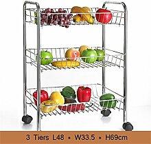 Wand Storage- Gemüse Racks Küche Regal Badezimmer Boden Regal Schlafzimmer Mobile Lagerung Rack mit einem Caster Brake Gerät 304 Edelstahl 3 Tiers (48 * 33,5 * 69cm) - Lagerregale