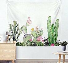Wand Tapisserie Kaktus Aquarell Sukkulenten Pflanze Floral Wall Decor große Wandbehang Wand , 002 , 130*150cm