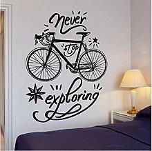 Wand Vinyl Aufkleber Fahrrad Zitat Wort Erkunden
