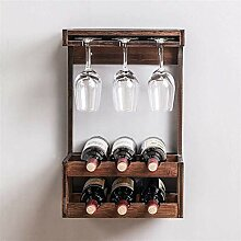 Wand-Weinregal Aus Holz Mit 8 Stiel Glashalter Und