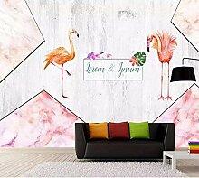 Wandaufkleber 3D Tapete Rosa Marmor Blume Flamingo
