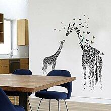 Wandaufkleber 3D zwei Giraffe Schmetterling DIY