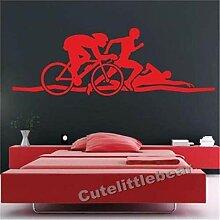 Wandaufkleber 45X135 Cm Triathlon Art Deco Sport