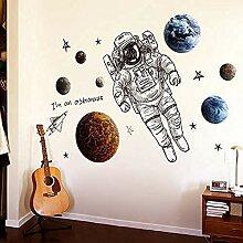 Wandaufkleber,Astronauten Weltraum Planet Cartoon