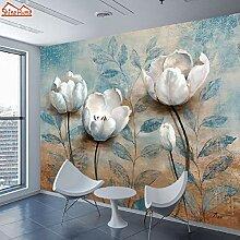 Wandaufkleber Blume 8D Seide Tapete 3D Wohnzimmer