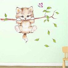 Wandaufkleber BUDSD niedliche Katze Schmetterling
