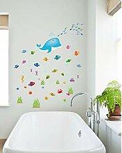 Wandaufkleber Cartoon Fish Whale Wohnzimmer