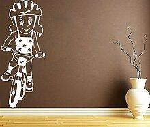 Wandaufkleber Fahrrad Kind Design Aufkleber
