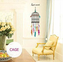 Wandaufkleber Feder Birdcage Wohnzimmer Tür Wc