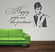 wandaufkleber feuerwehr Audrey Hepburn Happy Girls