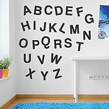Wandaufkleber für Kinderzimmer, Motiv: Alphabet / Buchstaben, Fenster-Aufkleber, ablösbar, Vinyl, All Charcoal, Medium Se