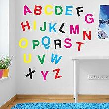 Wandaufkleber für Kinderzimmer, Motiv: Alphabet / Buchstaben, Fenster-Aufkleber, ablösbar, Vinyl, Mixed as Pictured, Large Se