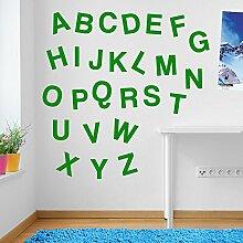 Wandaufkleber für Kinderzimmer, Motiv: Alphabet / Buchstaben, Fenster-Aufkleber, ablösbar, Vinyl, All Green, Medium Se