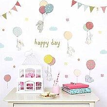 Wandaufkleber Happy Day Cartoon Kaninchen