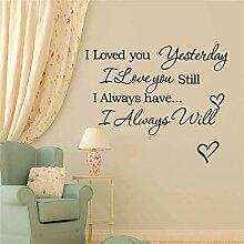 Wandaufkleber ich liebe dich gestern ich liebe