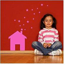wandaufkleber k Haus Sterne für Kinder Zimmer