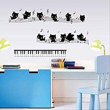Wandaufkleber Katze Tastatur Musik Wohnzimmer