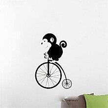 Wandaufkleber Kinderzimmer Affe Tier Wand Fahrrad