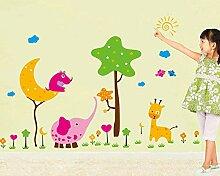 Wandaufkleber Kreative Cartoon Mond Baum