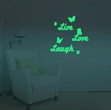 Wandaufkleber Live Love Laugh Schmetterlinge