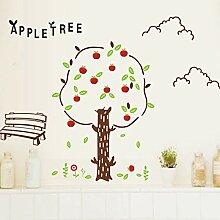 Wandaufkleber Mädchen Cartoon Apfelbaum
