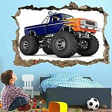 Wandaufkleber Monster Truck 3D Wandkunst Aufkleber