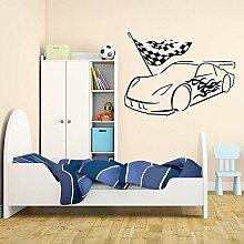 Wandaufkleber, Motiv: Garage, Auto, Rennfahrer,