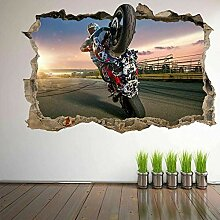 Wandaufkleber Motorrad Fahrrad 3D Wandkunst
