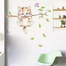 Wandaufkleber Nette Katze Schmetterling Ast