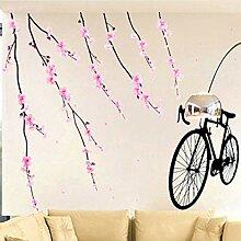 Wandaufkleber Pfirsich Blumen Baum Zweige Fahrrad